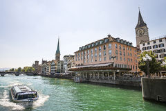 Zurich city center and quay of Limmat Stock Photo