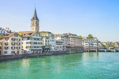 Zurich city center and quay of Limmat in summertime Stock Images