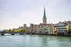 Zurich city center skyline and Limmat quay Stock Photos
