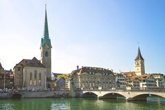 Zurich city center skyline and Limmat quay in summer Royalty Free Stock Photo