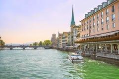 Zurich city center skyline and Limmat quay, Switzerland Stock Photos