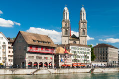 Zurich city center. View of Zurich city center; the church in the background is the cathedral Royalty Free Stock Image