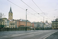 Zurich city center winter street view Royalty Free Stock Images