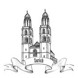 Zurich city emblem. Switzerland landmark Great Minster label. Royalty Free Stock Images