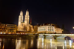 Zurich city, Grossmunster cathedral Royalty Free Stock Image