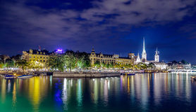 Zurich city lights royalty free stock image