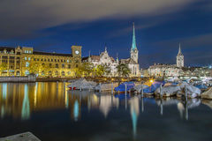 Zurich city lights royalty free stock photography
