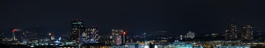 Zurich city panorama at night stock image