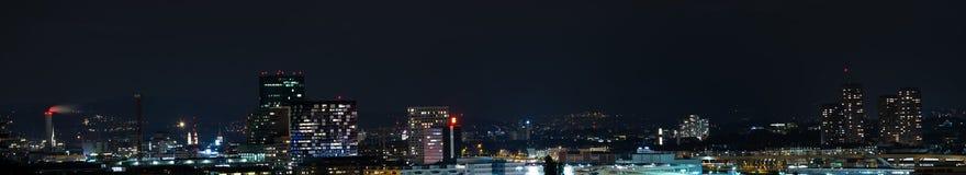 Zurich city panorama at night stock image