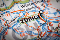 Zurich. City on a road map Royalty Free Stock Images