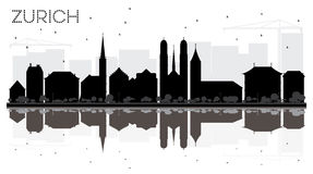 Zurich City skyline black and white silhouette with reflections. Royalty Free Stock Photos