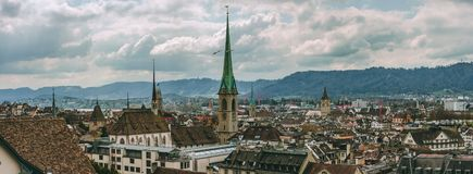Zurich city Switzerland old town vista rooftop view royalty free stock image