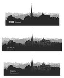 Zurich city, Switzerland. Skyline silhouette sset. Vector citysc Stock Image