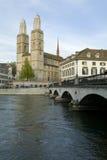 Zurich city. Zurich Cathedral. Zurich Cathedral-landmark of Zurich city. Muenster bridge over Limmat river, Muensterbruecke stock photography