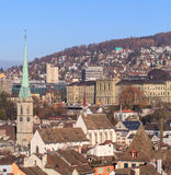Zurich cityscape. Zurich, Switzerland - cityscape in winter, view from the Great Minster tower Stock Photo