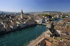 Zurich cityscape. Cityscape of Zurich, Switzerland. Taken from a church tower overlooking the Limmat River royalty free stock photos