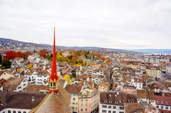 Zurich Cityscape (aerial view from Grossmunster Church) Royalty Free Stock Images