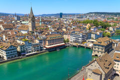 Zurich Cityscape (antennen beskådar), Royaltyfri Bild