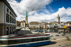 Zurich cityscape with  city traffic Stock Photos