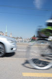 Zurich cityscape with city traffic. Zurich cityscape with motion blurred city traffic royalty free stock image