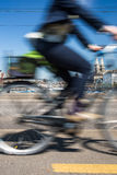 Zurich cityscape with city traffic. Zurich cityscape with motion blurred city traffic royalty free stock images