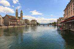 Zurich cityscape with the Grossmünster Cathedral , Zurich ,Swit. Zurich cityscape with old buildings and the Grossmünster Cathedral , Zurich ,Switzerland Stock Photos