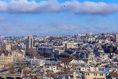 Zurich cityscape i vinter Arkivbild