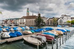 Zurich Cityscape and Limmat river in overcast rainy weather, Swi Stock Photography