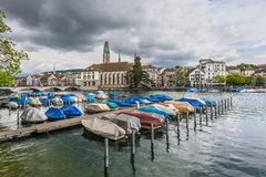 Zurich Cityscape and Limmat river in overcast rainy weather, Swi Royalty Free Stock Photo