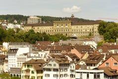 Zurich cityscape from Lindenhof with Swiss Federal Institute of. Technology Zurich Eidgenössische Technische Hochschule Zürich, Switzerland Royalty Free Stock Photos