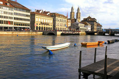 Zurich cityscape with river Limmat , Switzerland Royalty Free Stock Photo