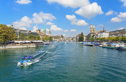 Zurich cityscape. Zurich, Switzerland - view along the Limmat river Royalty Free Stock Photography