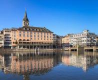 Zurich cityscape. Zurich, Switzerland - winter cityscape with St. Peter Church tower Royalty Free Stock Photos