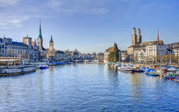 Zurich cityscape - view along the Limmat river Stock Photography
