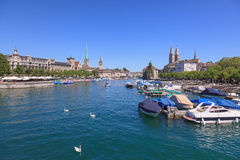 Zurich cityscape, view along the Limmat river Royalty Free Stock Photo