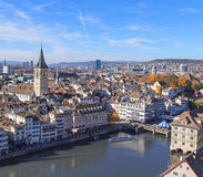 Zurich cityscape, view from Great Minster Stock Images