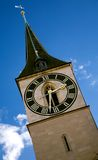 Zurich clock tower Royalty Free Stock Images