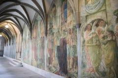 Zurich, Cloister Fraumuenster. Wall painting Cloister Fraumuenster, Zurich, Switzerland royalty free stock photos