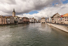 Zurich on a cloudy winter day Stock Image