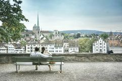 Zurich. Couple at Zurich with love Royalty Free Stock Image