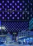 Zurich, cuadrado de Loewenplatz iluminado para la Navidad Foto de archivo libre de regalías