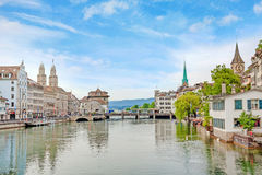 Zurich downtown, Limmatquai with Grossmunster, Fraumunster and St. Peter church Royalty Free Stock Photography