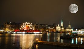 Zurich downtown by night Stock Images