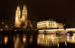 Zurich downtown at night, Switzerland Royalty Free Stock Images