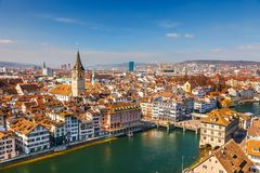 Zurich. Downtown of Zurich at sunny day Royalty Free Stock Photo