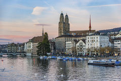 Zurich at dusk Stock Photography