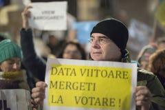 Zurich, el 5 de febrero de 2017 Proteste en solidaridad con la protesta contra el gobierno en Bucarest Foto de archivo