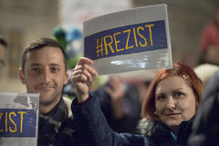 Zurich, el 5 de febrero de 2017 Proteste en solidaridad con la protesta contra el gobierno en Bucarest Imagen de archivo