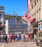 Zurich en el día nacional suizo Foto de archivo libre de regalías