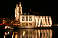 Zurich en la noche Fotografía de archivo libre de regalías